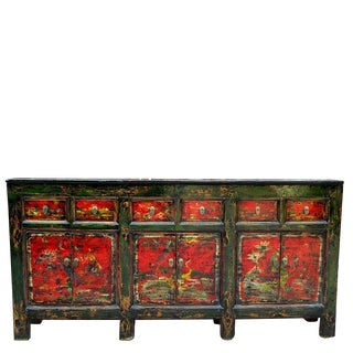 1920s Asian Modern Red Qing Hai Buffet Sideboard For Sale