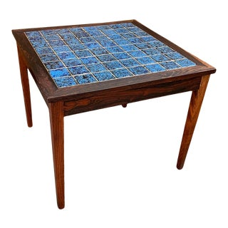Rosewood & Tile Top Danish Side Table For Sale