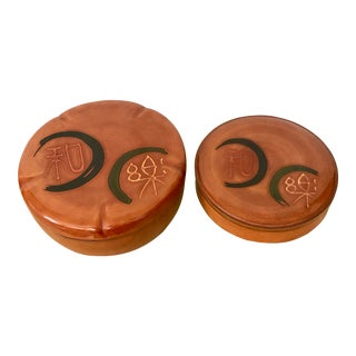 Japanese Negoro Nuri Lacquer Lidded Round Boxes - a Pair For Sale