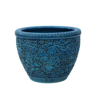 Chinese Ceramic Blossom Flowers Relief Motif Bright Blue Color Pot Planter For Sale