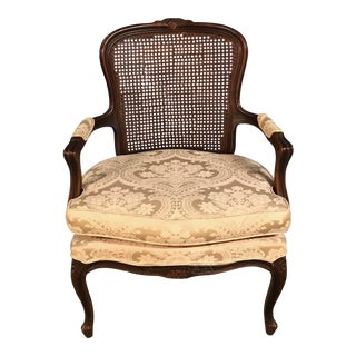 Late 20th Century Vintage French Provincial White and Cane Side Chair For Sale
