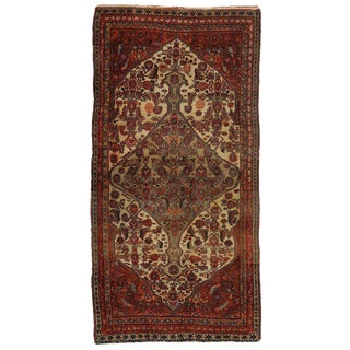 Antique Persian Hamadan Runner with Central Medallion and Corner Design For Sale