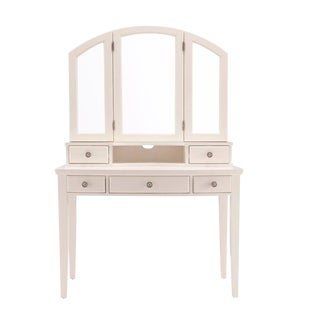 Shabby Chic Cream Pine 2-Pc Vanity Desk and Tri-View Mirror For Sale