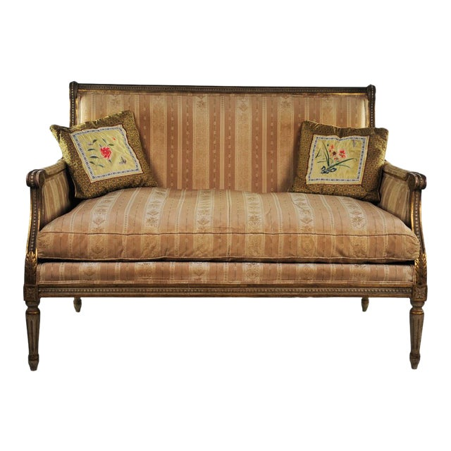 Late 19th C. Louis XVI Style Distressed Settee For Sale