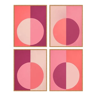 Pink Forevers Set of 4 by Stephanie Henderson in Gold Frame, Large Art Print For Sale
