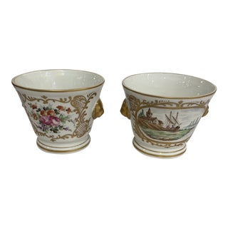 French Ceramic with Gilt Accents Cache Pots - a Pair For Sale