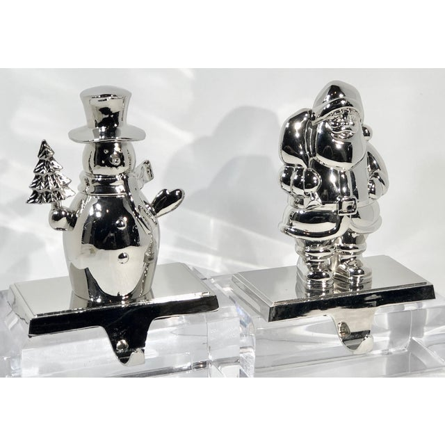 Metal Vintage Stocking Hooks Christmas Silver Snowman and Santa - Set of 2 For Sale - Image 7 of 11