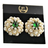 Image of 80s MV Vellano 3d Fx Pearl Pave Flower Earrings Nos For Sale