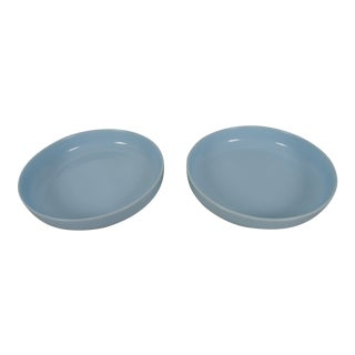 Vintage Large-Scale Porcelain Pale Blue Chargers - a Pair For Sale