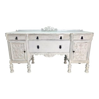 1900-1930s White Carved Buffet For Sale
