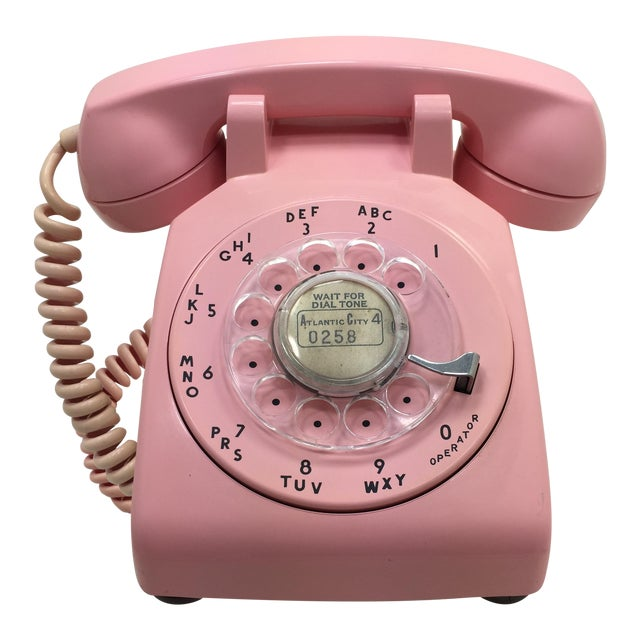 Pink 1964 Date Matched Rotary Dial Desk Phone For Sale