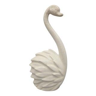 1963 Mid-Century Modern Ivory Ceramic Swan Sculpture