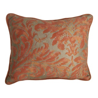 Fortuny Bittersweet & Metallic Gold Accent Pillow For Sale