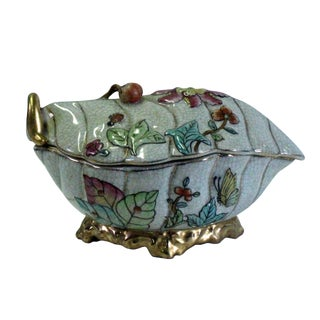 Vintage Oriental Handmade White Crackle Porcelain Box Container For Sale