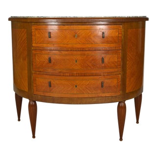 1920s Art Deco Demilune Mahogany & Marble-Top Commode For Sale
