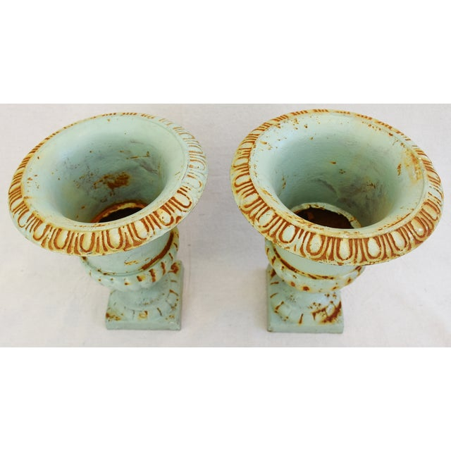 Vintage Teal/Blue Cast Iron Urn Planters - Pair For Sale - Image 4 of 11