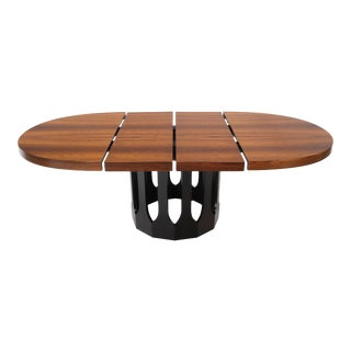 Oval Rosewood Ebonized Solid Mahogany Base Dining Table by Harvey Probber 2 Leaf For Sale