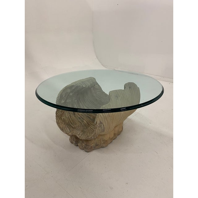 Italian Italian Carved Wood Shell Base Coffee Table With Round Glass Top For Sale - Image 3 of 13