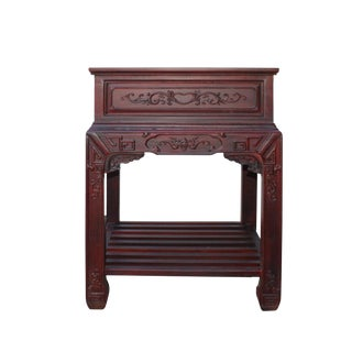 Chinese Oriental Brownish Rosewood Motif Tea Side Table Stand For Sale