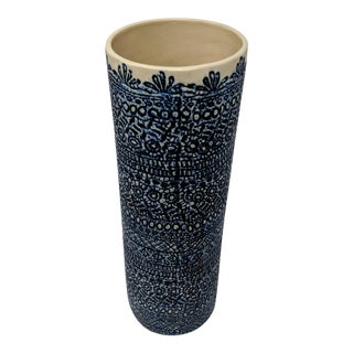 Cream and Navy Embossed Ceramic Vase For Sale