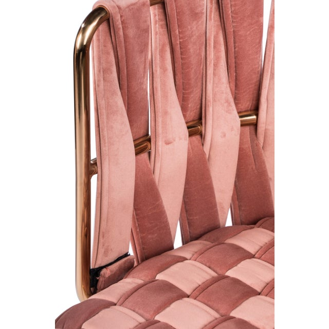Mid-Century Modern Milano Dining Chair in Rose and Gold For Sale - Image 3 of 5