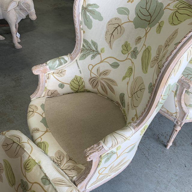 Upholstered Bergere Chairs - a Pair For Sale - Image 9 of 10