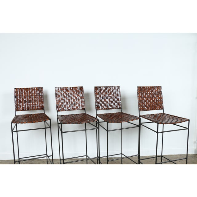 1990s Vintage Leather Bar Stools - Set of 4 - Image 4 of 11