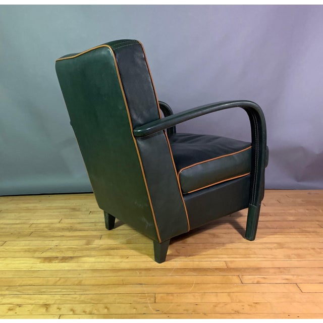 Pair Baxter Italia Green Leather Armchairs, 1990 For Sale - Image 9 of 11