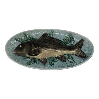 1980s English Majolica Fish Platter For Sale