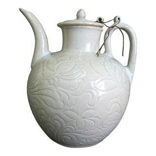 Chinese Celadon Green Glaze Pottery Wine Jug Pot W/Lotus Leaf Floral Design For Sale