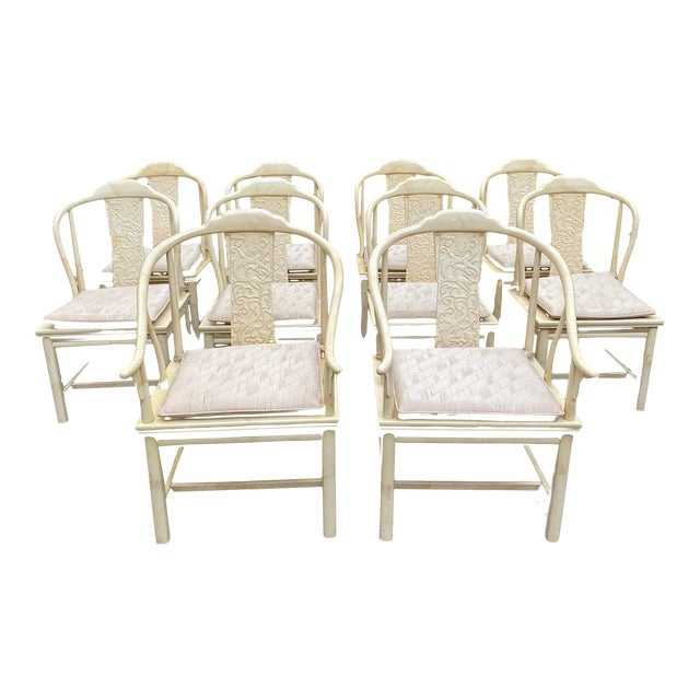 Vintage Henredon Asian Faux Goatskin Dining Chairs - Set of 10 For Sale