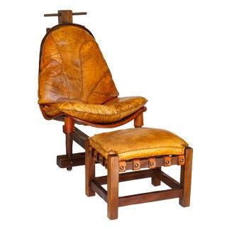 Rare Brazilian Modern Chair & Ottoman - A Pair