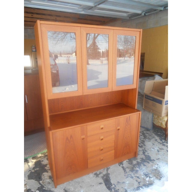 Mid-Century Danish Modern Two Piece China Display Cabinet For Sale - Image 4 of 10