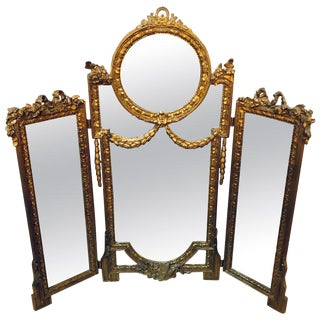 Hollywood Regency 1940s Louis XVI Style Gilt Wood Trifold Vanity or Table Mirror For Sale