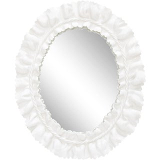 Ceramic White Ruffle Oval Mirror