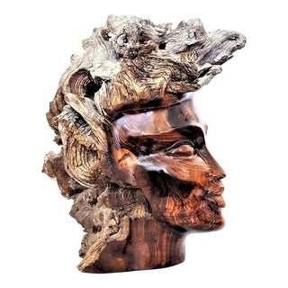 Large Burl-Wood Tree Black Female Bust Table Sculpture - Mid Century Modern MCM Abstract Expressionism Boho Chic Coastal Tropical Palm Beach For Sale