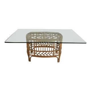 Mid-Century Modern Glass Topped Bamboo Bamboo Dining Table