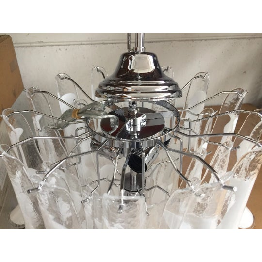 "2010s Mazzega Style Chandelier Vintage Murano Glass ""Selle"" For Sale - Image 5 of 6"
