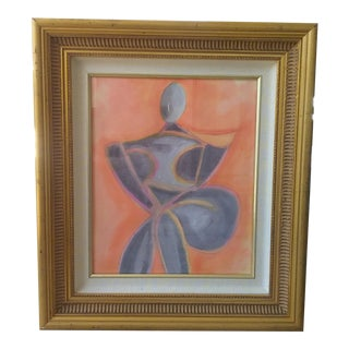 Cubist Figurative Watercolor Painting For Sale