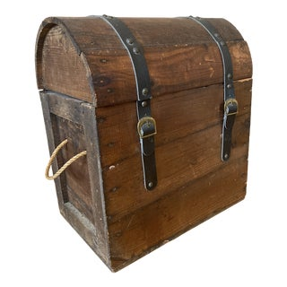 Vintage Rounded Top Wood Treasure Chest For Sale