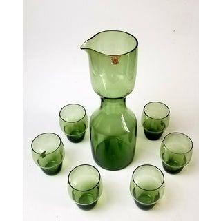 Kjell Blomberg for Gullaskruff Sweden Art Glass Decanter and Six Glasses - 7 Pieces Preview