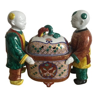 1960s Chinese Porcelain Figurine Box For Sale
