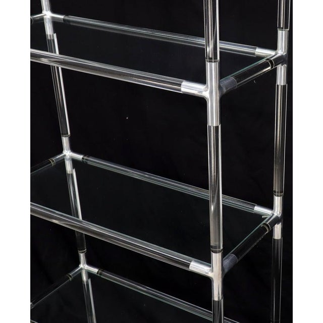 Lucite and Aluminum Mid-Century Modern 5-Tier Etagere Vitrine Shelving Unit For Sale - Image 11 of 13