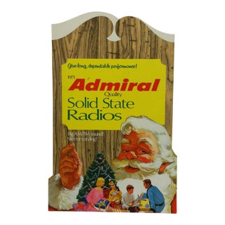 1971 Admiral Quality Solid State Radios Advertising Sign For Sale