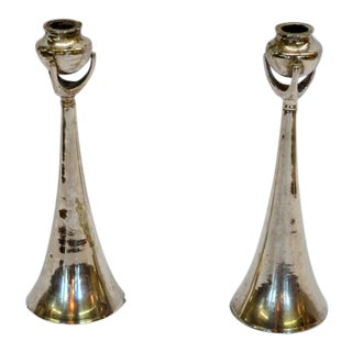Silver Modern Deco Candlesticks - a Pair For Sale