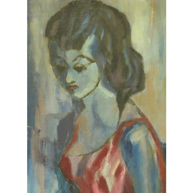 Abstract Blue Woman with Hat Oil on Canvas by B. Maltz For Sale - Image 3 of 5