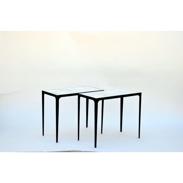 """DESIGN FRERES Contemporary Design Frères """"Esquisse"""" Wrought Iron and Marble Side Tables - a Pair For Sale - Image 4 of 5"""
