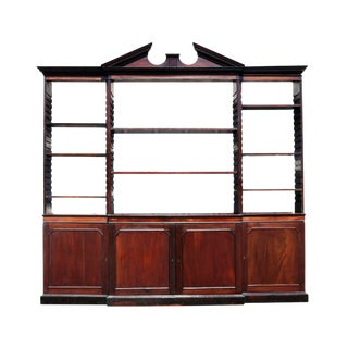 George III Mahogany Breakfront Open Bookcase For Sale