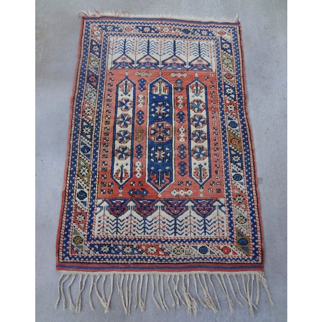 """Vintage Handwoven Peach & Blue Rug - 4'10"""" x 3'2"""" - Image 4 of 7"""