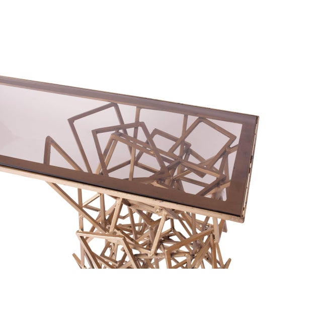 Handcrafted Console Table in Gilded Iron For Sale - Image 4 of 8
